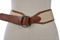 Lauren Ralph Lauren Lauren Ralph Lauren Womens Ivory Wide Width Belt Textured Synthetic