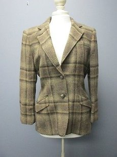 Lauren Ralph Lauren Lauren Ralph Lauren Brown Plaid Wool Lined Button Blazer Jacket Sm2623
