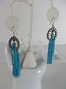 Lee Angel Lee Angel Antique Silver Box Link Turq Chain Dangle Earrings
