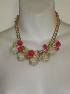 Lee Angel Lee Angel Beige Ball Pink Green Charm Short Necklace