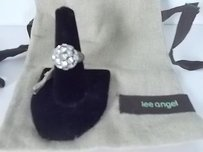 Lee Angel Lee Angel Clear Crystal Gunmetal Fireball Disco Ring
