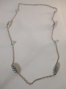 Lee Angel Lee Angel Cluster Blue Stone Bar Layering Necklace