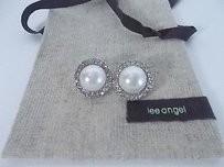 Lee Angel Lee Angel Faux Pearl Crystal Round Stud Earrings Nipouch