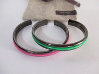 Lee Angel Lee Angel Gunmetal Pink Green Enamel Cuff Set Of