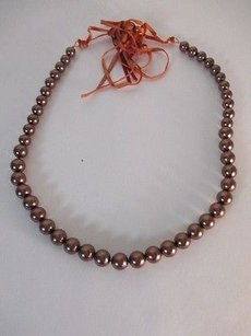 Lee Angel Lee Angel Heavy Bronze Glass Pearl Multi Velvet Ribbon Tie Necklace