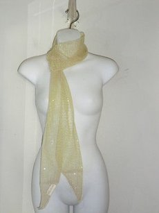 Lee Angel Lee Angel Lime Net Striped Sequin Sheer Scarf Wrap