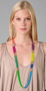 Lee Angel Lee Angel Multi Color Block Chain Necklace