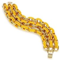 Lee Angel Lee Angel Safina Triple Row Yellow Enamel And Gold Double Link Bracelet