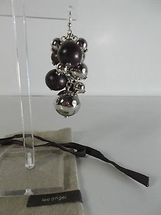 Lee Angel Lee Angel Sophia Silver Chain Ball Wood Ball Cluster Dangle Earrings