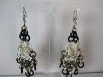 Lee Angel Lee Angel Three Tier Tri Color Link Chandelier Earrings Khaki Black Whi