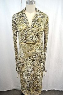 Leonard Paris short dress Multi-Color Gold Leopard Print Silk Shirt W Tie Sleeves on Tradesy