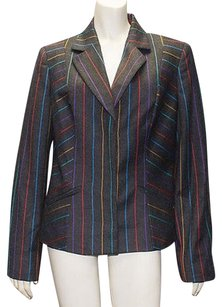Les Copains Gray Cashmere Blend Striped Blazer Coat Wtw Hs1970 Multi-Color Jacket