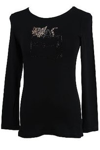 Les Copains 0l9070 Embellished Tee Solid Womens T Shirt Black