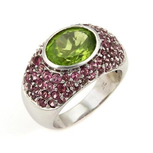 LeVian Levian 5.75ct Sapphire Peridot 18k White Gold Dome Ring-