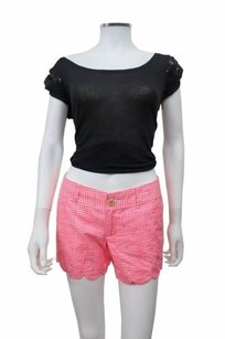 Lilly Pulitzer Buttercup Plaid White Scalloped Hem 0 Shorts Pink