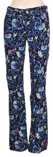 Lilly Pulitzer Womens Blue Printed Corduroy Textured Trousers Pants