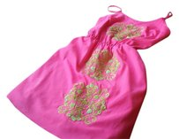 Lilly Pulitzer short dress Pink Embroidered Sequined And Green on Tradesy