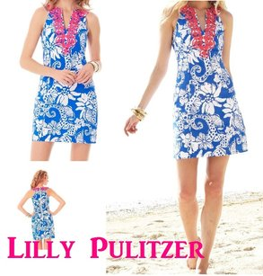 Lilly Pulitzer short dress LILLY PULITZER AUGUSTA DEEP SEA BLUE QUAHOG CHOWDAH SHIFT DRESS 6 SHEATH Preppy on Tradesy