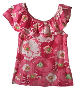 Lilly Pulitzer Wynne Off Scarlet Begonias Top Pink/Multi