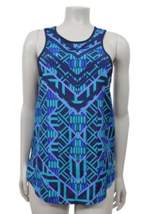 Lily White Geo Print Racer Top Navy Multi-Color