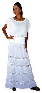 Lirome Casual Summer Crochet Country Maxi Skirt White
