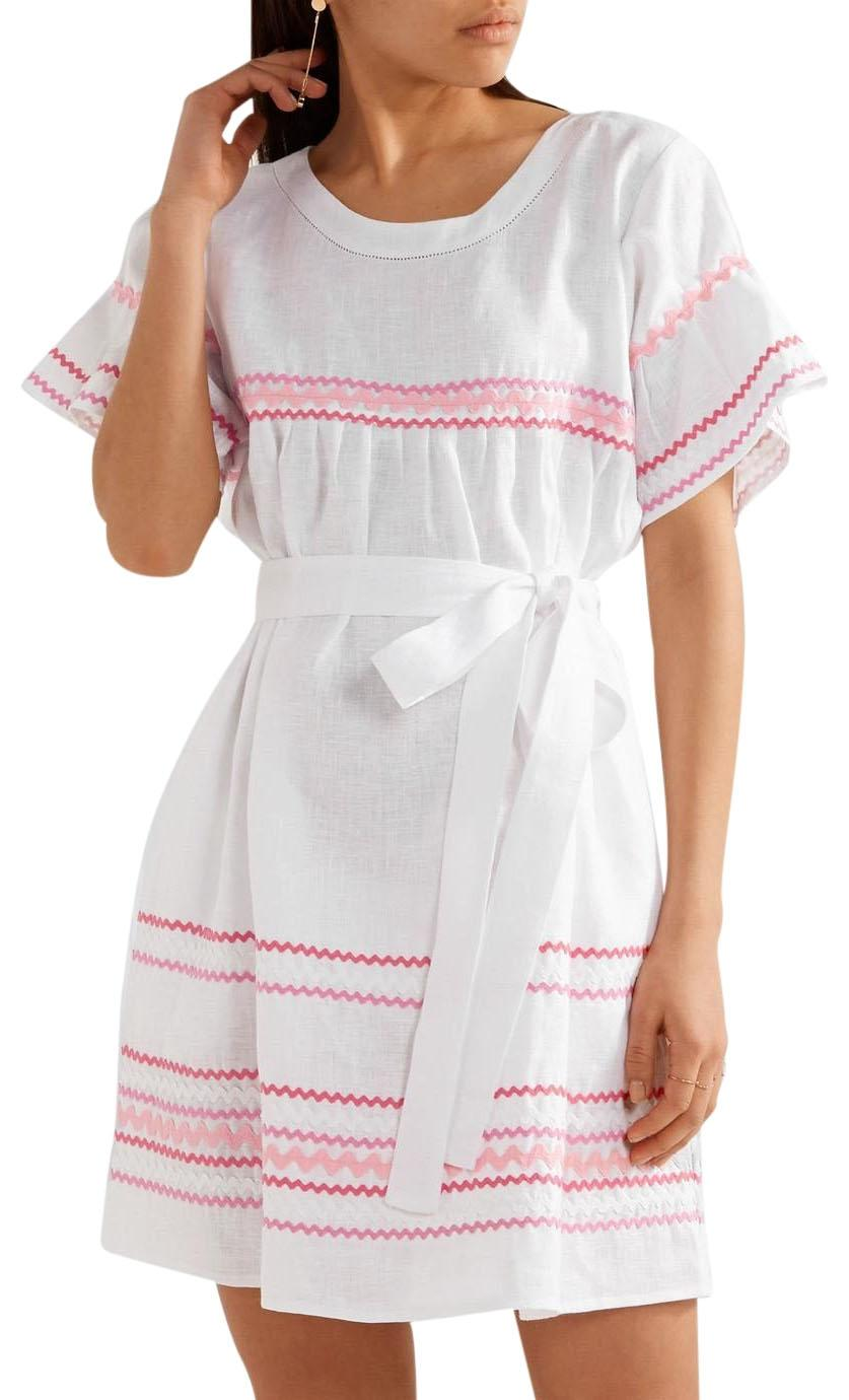 Fiesta Rickrack-trimmed Linen Mini Dress - White Lisa Marie Fernandez Cheap Sale Outlet Locations TMuMd