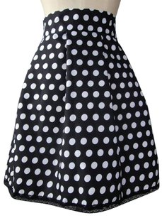 Lisa Nieves Dot Casual Party Mini Skirt Black and white polka dots