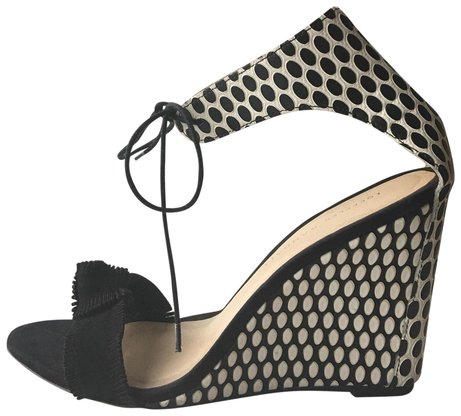 Loeffler Randall Black/White Suede and Leather Polka Dot Tie Up 8.5 Ankle Wedges Size US 8.5 Up Regular (M, B) 44e815
