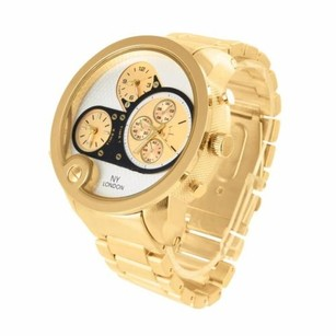 London Times Mens Time Zone Ny Yellow Gold Finish Watch Jojo Rodeo Presidential Metal Band