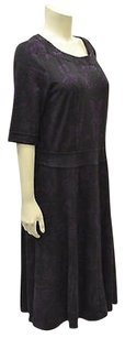 London Times short dress Black/Purple Brocade Stretch Knit 150456rm on Tradesy