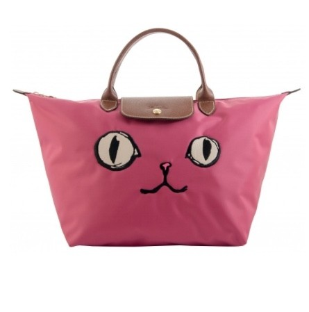 Longchamp Limited Edition Cat Face Miaou Le Pliage Tote in pink