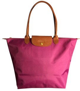 Longchamp Tote in PURPLE-Punk( more purple-pink undertone)/Brown/Gold