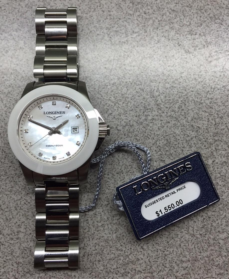 longines stainless steel white ceramic mother of pearl u0026 diamonds conquest ss bezel mop dial quartz watch tradesy