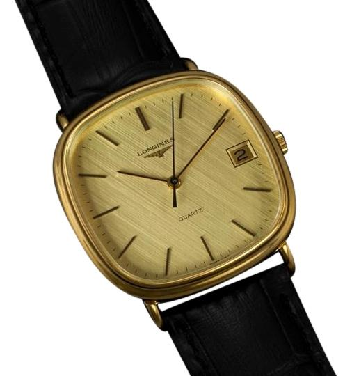 longines mens size dress with date 18k gold