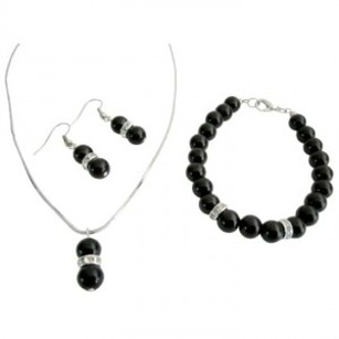 Black Looking Pageant Bridemaids Pearls Jewelry Set