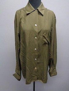 Lord & Taylor And Olive Silk Casual Fit Button Down Sm11334 Top Green