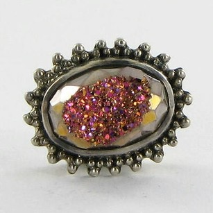 Lori Bonn Lori Bonn 29947dwtr Slide Charm Hot Flash Rose Drusy Sterling Silver