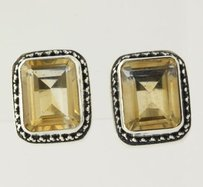 Lori Bonn Yellow Citrine Earrings - Sterling Silver 925 Stud Womens Solitaire 5.80ctw