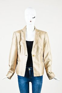 Louis Feraud Feraud Shiny Beige Silk Circular Patterned Ls Collared Blazer Jacket