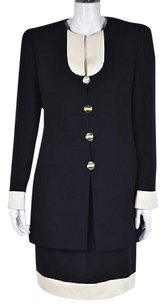 Louis Feraud Louis Feraud Womens Black Skirt Suit Color Block Knee Length Wtw Wool