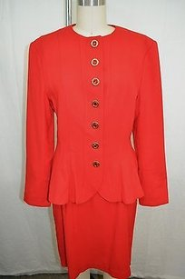 Louis Feraud Louis Feraud Vintage Red Multi Button Down Skirt Suit