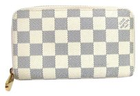 Louis Vuitton Auth LOUIS VUITTON Damier Azur Zippy Compact Wallet Bifold Purse Case
