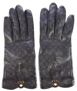 Louis Vuitton Black leather Louis Vuitton LV Monogram print gloves