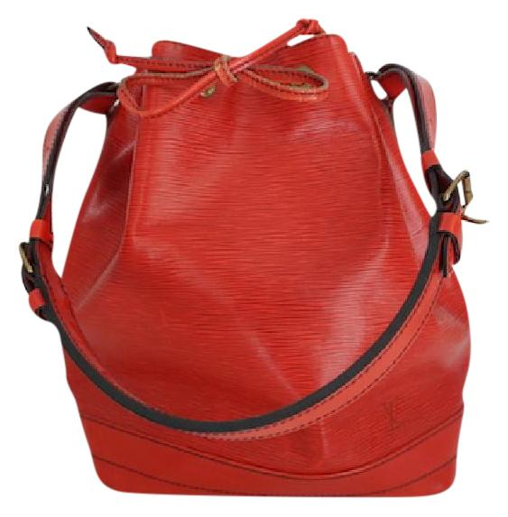 Louis Vuitton Red Leather Drawstring Bucket Hobo Tote Shoulder Bag 77tfUiFjs