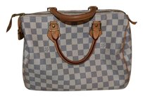 Louis Vuitton Damier Canvas Speedy Blue White Boston Satchel in Azur
