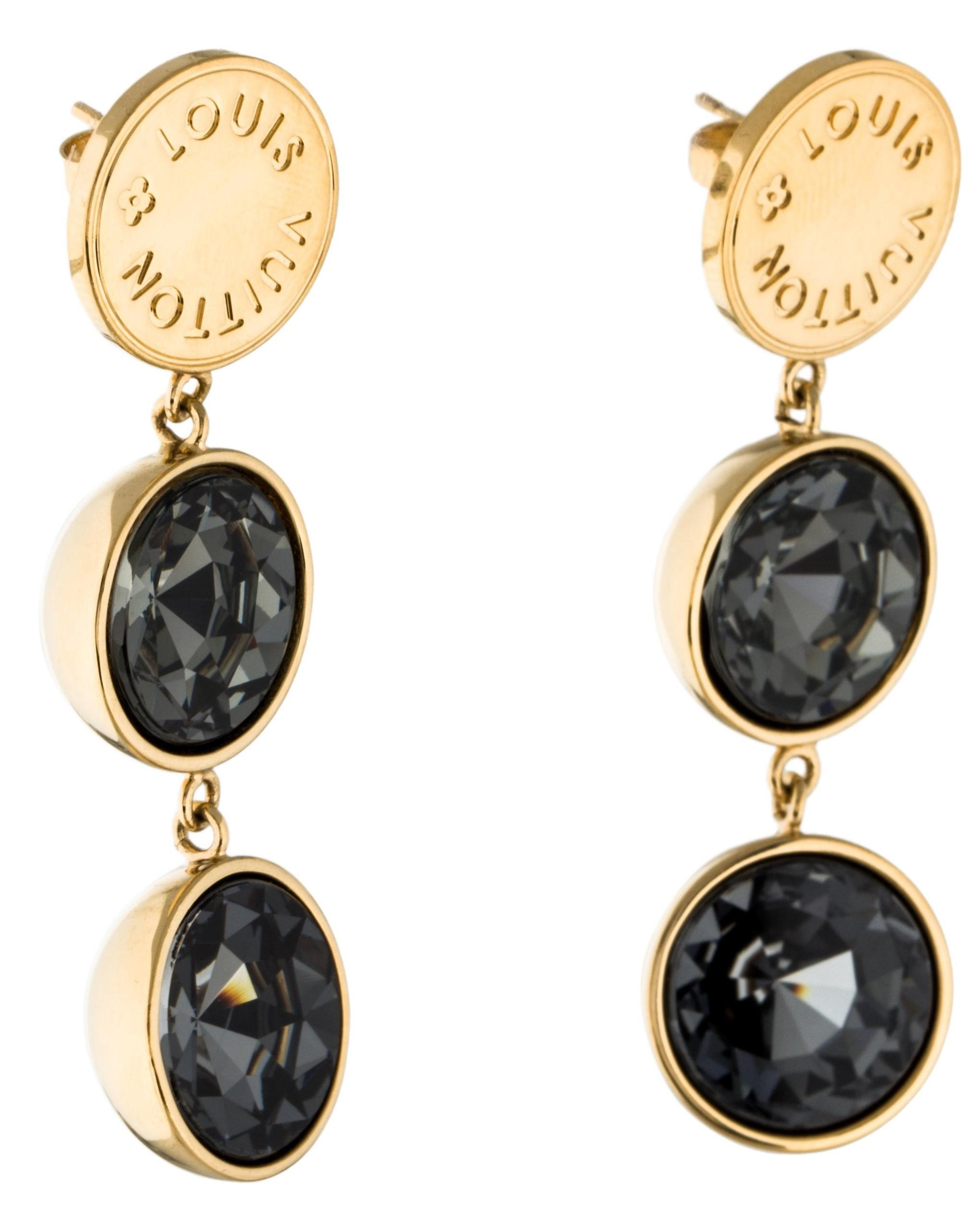 louis vuitton earrings mens. louis vuitton gold-tone swarovski crystal lv charm earrings mens