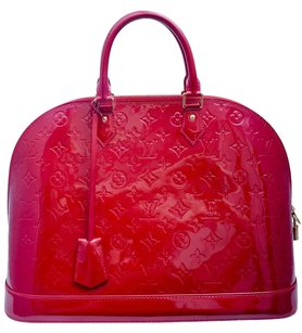 Louis Vuitton Leather Monogram Patent Gold Hardware Tote in Red
