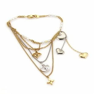 Louis Vuitton Louis Vuitton 18k Two Tone Monogram Charms Pearls Multi-chain Bracelet