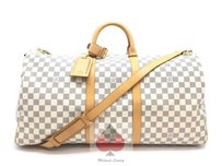 Louis Vuitton L.v White and Blue Checkered (Guaranteed Authentic) Travel Bag