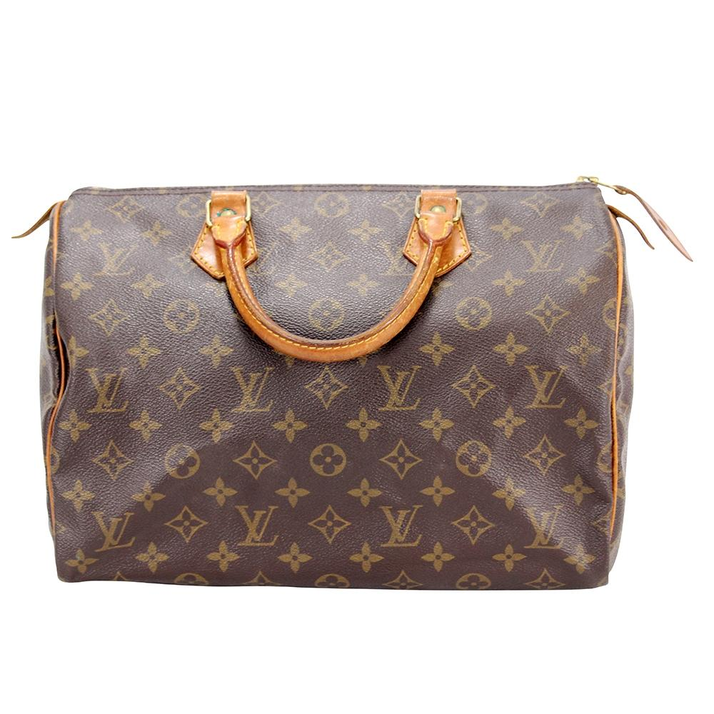louis vuitton brown canvas speedy tote